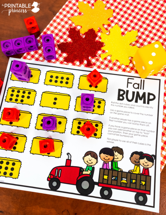 Grab these FREE BUMP game printable. Perfect for fall in Kindergarten. Just print and add dot cubes and game pieces. Students play with a partner to practice math skills like counting and one-to-one correspondence.