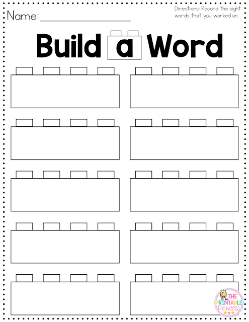 "Working on sight words in preschool, Kindergarten, and 1st grade is a HUGE skill! That's why this ""Build a Sight Word"" activity with FREE recording sheet is so great! Click through to see how to set up your own literacy center so your classroom or homeschool students can master their sight words. And make sure to pick up your freebie while you're there! {preK, Kinder, & first graders}"