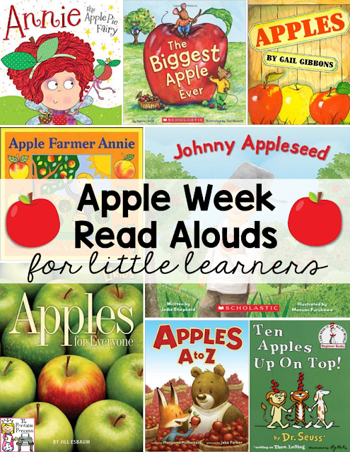 Are you on the lookout for great Apple Week activities for your Kindergarten classroom? Then you're going to LOVE this! Click through to find great book ideas, recipes, a FREE download, and more for your students! {Your preschool and first grade students may enjoy these, as well as homeschool families!} Use these anytime during the fall season or to liven up your September and October lesson plans. Students will have fun and planning will be a breeze! Win-Win!