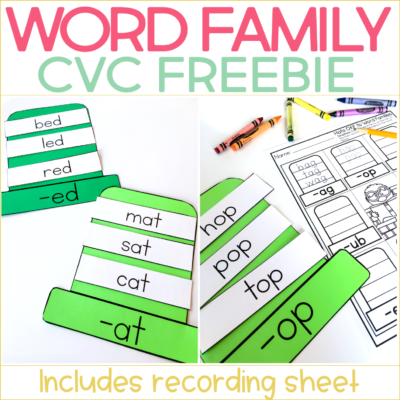 Word Family Hats Freebie (for CVC words)