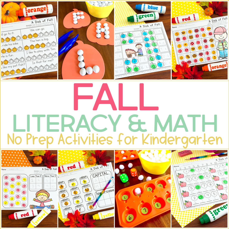 No Prep Fall Activities for Kindergarten {And Games TOO!}