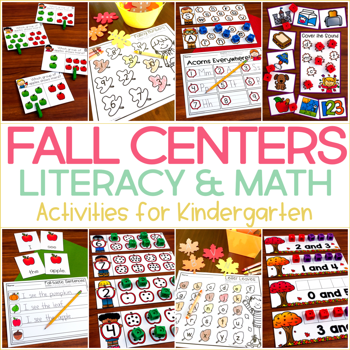 Easy Fall Centers for Kindergarten {Plus Some Fall Freebies}!