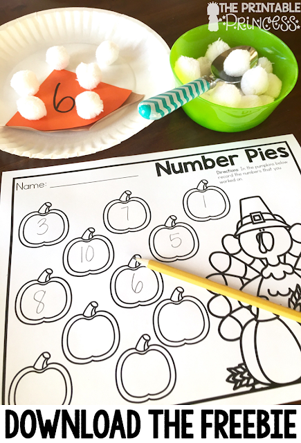 "You're going to love these Kindergarten Thanksgiving activities! Your students will work on sight words, counting, and be sure to grab your FREE recording sheet!! While these are great for Kindergartners, your preschool, 1st, and 2nd grade classroom and homeschool students may enjoy these as well! You can use these fun pumpkin activities for math centers, literacy centers, spelling, & more! Plus make sure to check out the ""Tom the Turkey"" poem and activities too!"