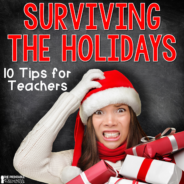 Here are 10 practical tips for surviving the holiday season in the elementary classroom. Make sure to check them all out so you're prepared all of December! These tips will work for preschool, Kindergarten, 1st, 2nd, 3rd, 4th, 5th, and 6th grade teachers, as well as middle school and high school teachers! Make sure to check out all 10 ideas, and then leave yours in the comment section too!