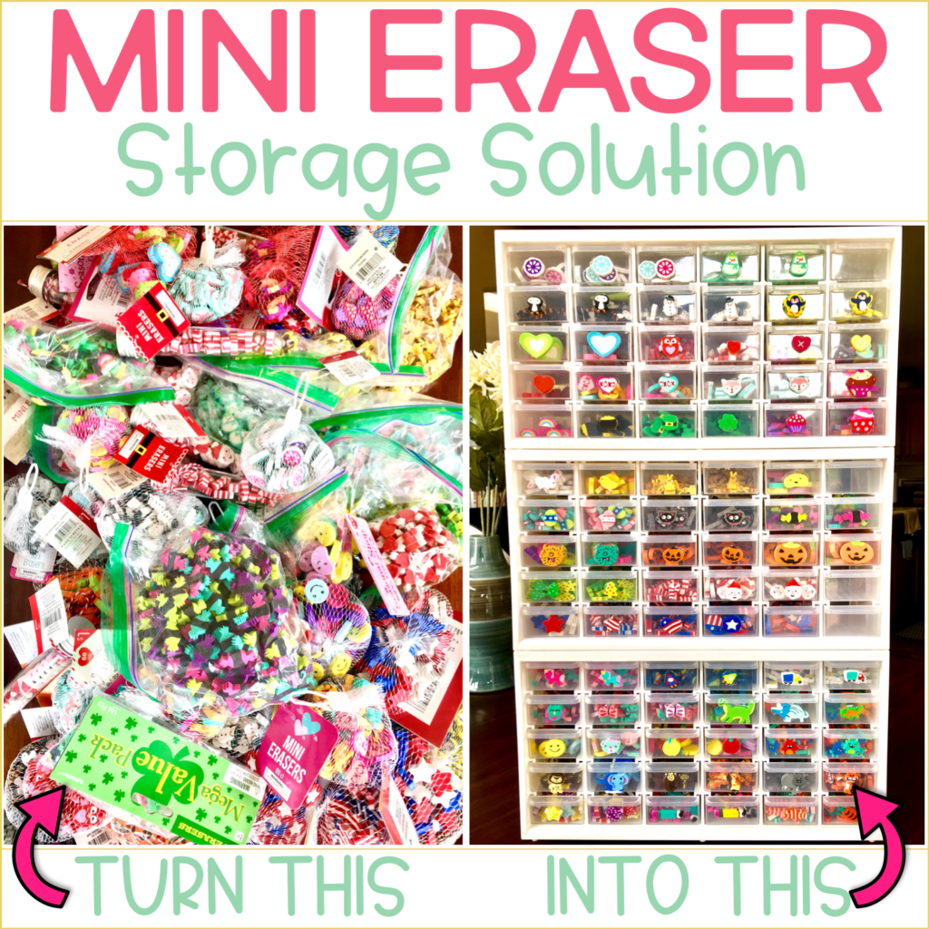 Mini erasers make classroom learning so much fun. Kids love them and so do teachers. But how do you store all of those mini erasers? Click through to read about a space saving organizational project that will have all of your mini erasers at your fingertips!