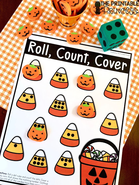 Here's a fun little Halloween freebie to teach counting and subsitizing to your Kindergarten students. Just print and add dot cubes {dice}. This activity can be played independently or with a partner. Two versions are included with numbers to 6 and numbers to 12.