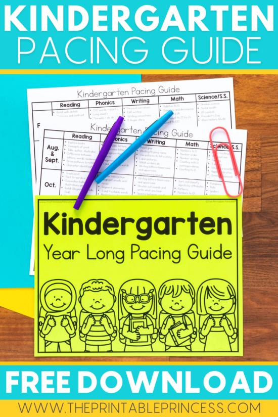 Kindergarten Pacing Guide Freebie