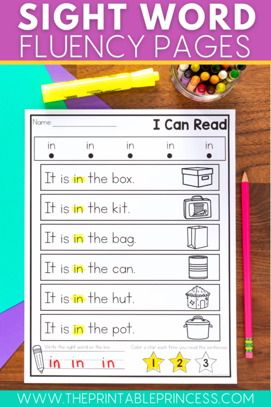 sight word fluency pages