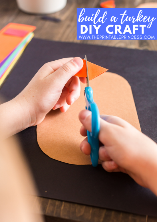 This DIY turkey craft for kids is super cute during the month of November! It is perfect for kindergarten and first grade students. Not only will students practice fine motor skills, but they will also practice listening and following directions as they complete this Thanksgiving craft There's no tracers needed for this turkey craft for kids. Students will round corners and cut straight lines to create a turkey - giving each piece of art its on unique look.