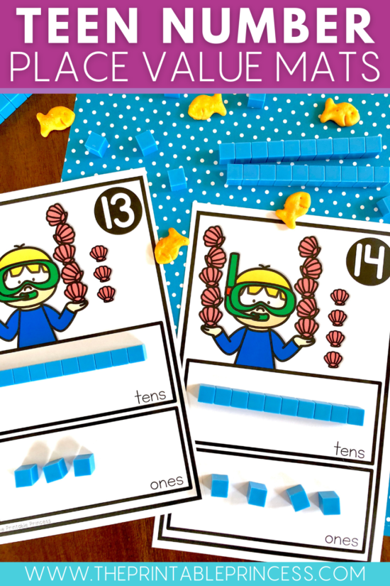 Teen number place value mats