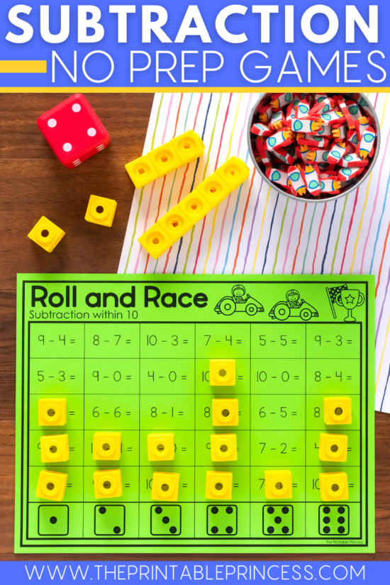Roll and Race subtraction game