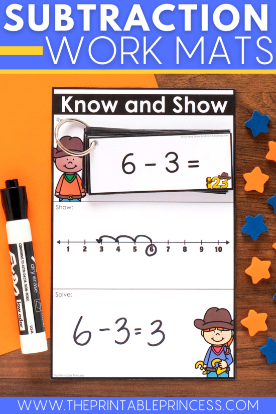 Know and Show subtraction work mats