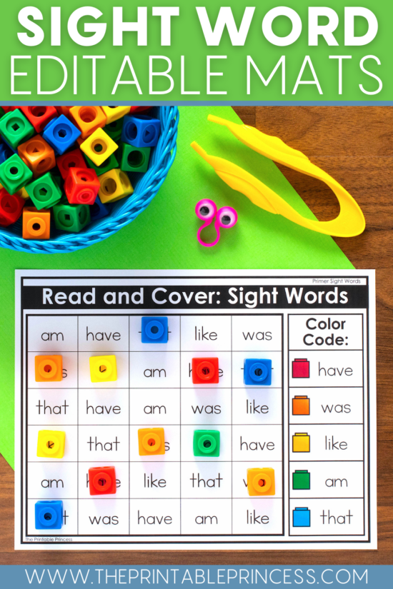 Sight Word Read and Cover Mats