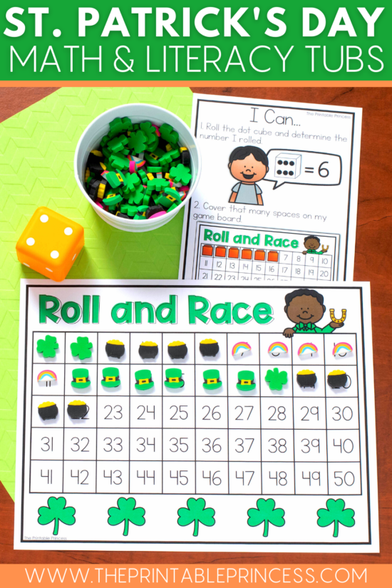 St. Patrick's Day math and literacy morning tubs