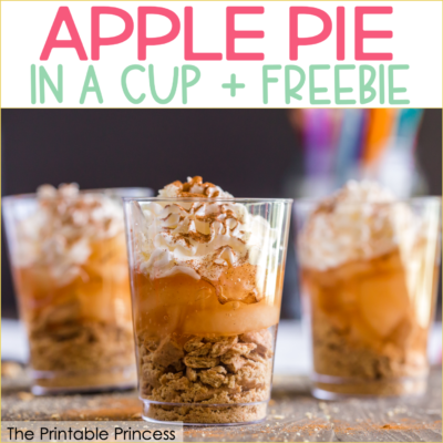 """Apple Pie in a Cup is the perfect snack to end Apple Week in PreK, Kindergarten, or First Grade. The recipe is simple and perfect for classroom """"cooking"""". Click through to get a read aloud suggestion as well as a free printable that make this a yummy """"snack-tivity""""!"""