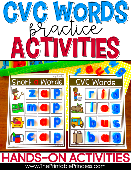 When young readers are ready to tackle putting together their very first words, the simplest way to begin is with CVC words. It is important to give our kindergarten and first grade students plenty of opportunities for practice as they develop this new skill. As teachers it is essential that we have many, many different activities to help our students learn to read and write CVC words. This post includes many different age appropriate and FUN ways for students to practice.