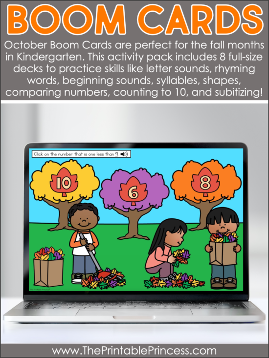 Fall Learning Activities for Kindergarten Boom Cards