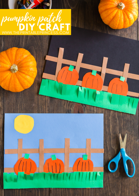 This DIY pumpkin patch makes a great fall craft for kids idea! It is perfect for kindergarten and first grade students. Not only will students practice fine motor skills, but they will also practice listening and following directions as they complete this fall craft. There's no tracers needed for this pumpkin craft for kids. Students will round corners and cut straight lines - giving each piece of art its on unique look.
