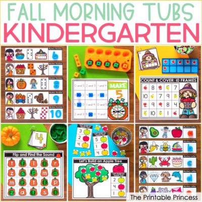 Fall Literacy and Math Tubs for Kindergarten + a Freebie!