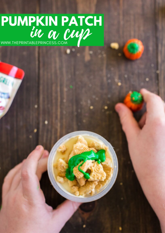 Pumpkin Patch in a Cup is an adorable festive fall snack idea for kids. It's great to make after a trip to the pumpkin patch or just because. This pumpkin themed fall snack makes a great treat for home or school! The ingredients are simple and there's no baking required which makes it perfect for classroom parties. This fun fall snack for kids is perfect for PreK, Kindergarten, or first grade. Grab step-by-step directions and a free no-prep sequencing printable to use as a follow up page.