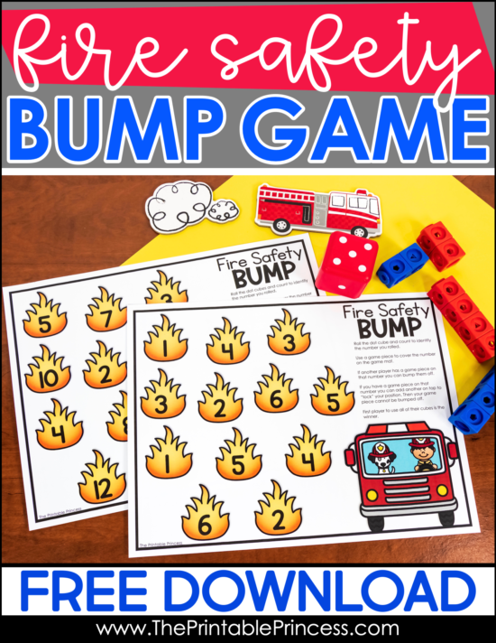 Bring October's fire safety theme into your kindergarten math activities with this fun and free fire safety math game. It's a great way to practice counting and number recognition. Numbers to 6 and numbers to 12 are included.