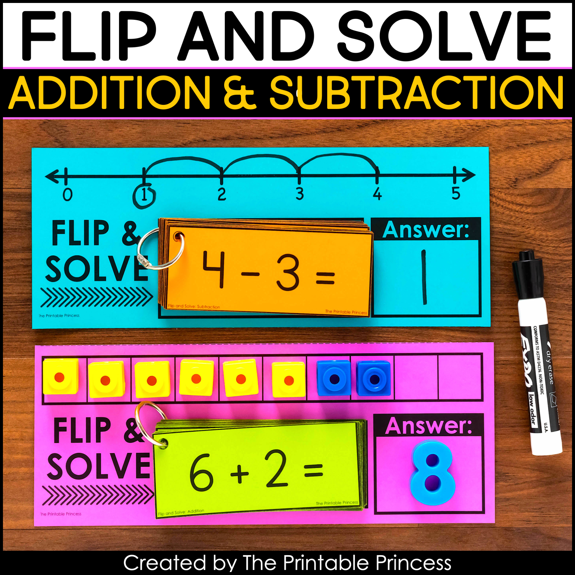 Flip And Solve With Addition And Subtraction Flash Cards The Printable Princess