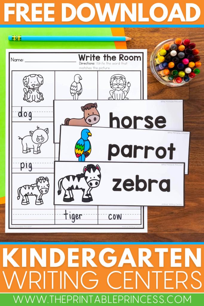Free Kindergarten Animal Writing Centers