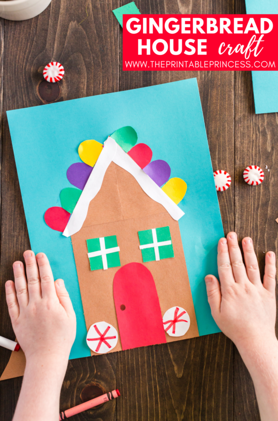 This gingerbread house craft is perfect for the month of December. It works well as an at-home craft, or as part of your gingerbread activities for Kindergarten or first grade. This is a total DIY craft. There's no tracers needed. Students make simple cuts and round corners to create this fun and festive gingerbread house craft.
