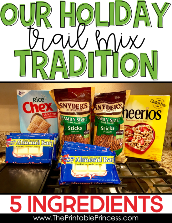 This holiday trail mix recipe is a staple in our family. We make it every year! It's easy to make and needs just five simple ingredients. It's a recipe the whole family can make together. Plus it makes a great gift too!