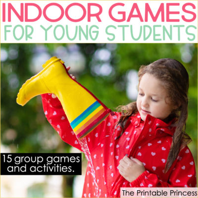 Some days the weather just doesn't cooperate for recess. It can be either too dreary or cold, or even too hot for kids to go outside and get much needed recess time. But just because the weather isn't cooperating doesn't mean your students don't need time to take a break and play. They just need some indoor recess games! Check out these 15 ideas for fun indoor games for kids. These indoor games are perfect for a large group of kindergarten and first grade students.
