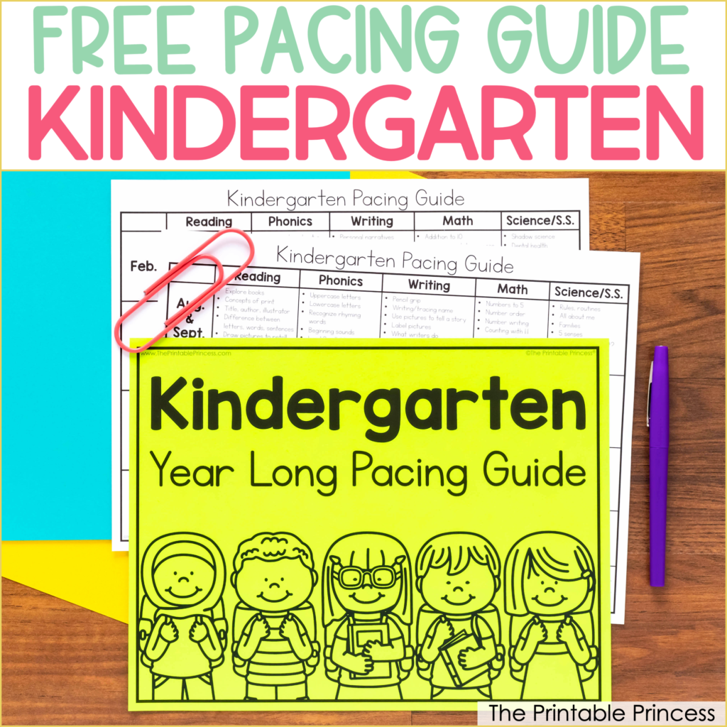 Free Kindergarten Pacing Guide