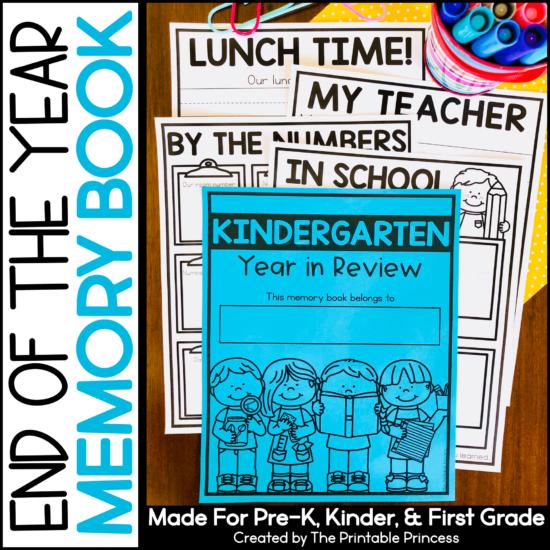 Memory Books are a great way to wrap up the school year and record students' memories and accomplishments during their year in PreK or Kindergarten. This end of the year memory book was designed specifically for Kindergarten students. Each page focuses on only one topic and the lines are wide to allow for writing. Several differentiated options are included so you can pick what works best for your students.