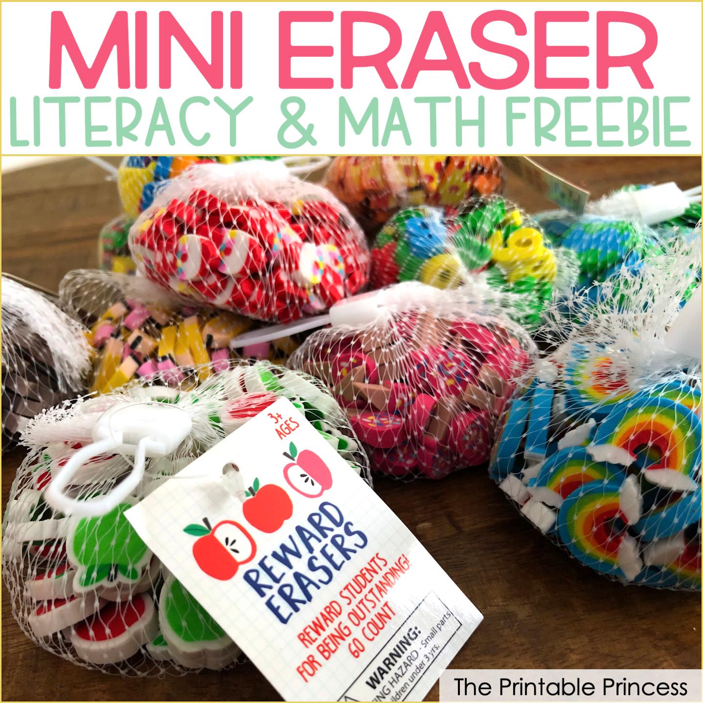 Mini Eraser Freebies for Kindergarten