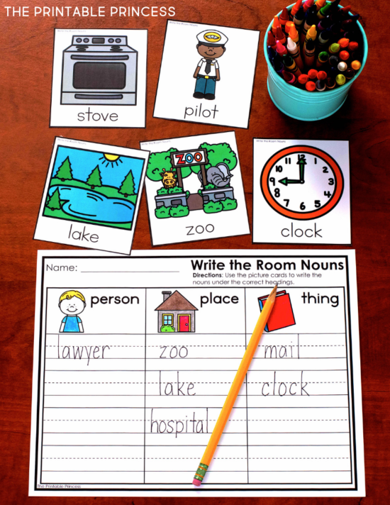 Noun activities for Kindergarten plus 3 FREE games! Find ideas for hands-on and engaging activities to help your students practice nouns. These activities were designed to help students classify nouns as a person, place, thing, or animal. You'll find noun posters, picture sort activities, engaging centers, and no prep practice pages - all made just for Kindergarten. Plus you'll find 3 FREE hands-on games to practice nouns. Your students will have a blast identifying nouns to see who can get to finish line first! Click through to view the Nouns Activities for Kindergarten and download your 3 free games today!
