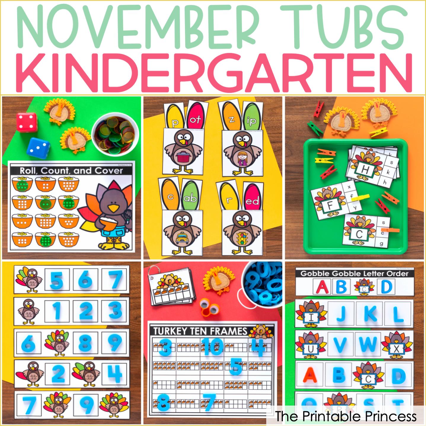 November Morning Tubs for Kindergarten