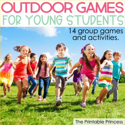 Spring is a perfect time to get outside and play with your students! Are you looking for some fun group activities to help get the wiggles out and enjoy the fresh air and warm sunshine? Check out these 14 ideas for fun outdoor games for kids. These outdoor games are perfect for a large group of kindergarten and first grade students.