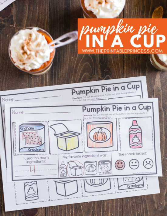 "Pumpkin Pie in a Cup is the perfect snack for PreK, Kindergarten, or First Grade during the month of November. It's great for a Fun Food Friday activity or a classroom Thanksgiving feast. The recipe is simple and perfect for classroom ""cooking"" - there's no baking required. Click through to get directions as well as a free printable that make this a yummy ""snack-tivity""!"