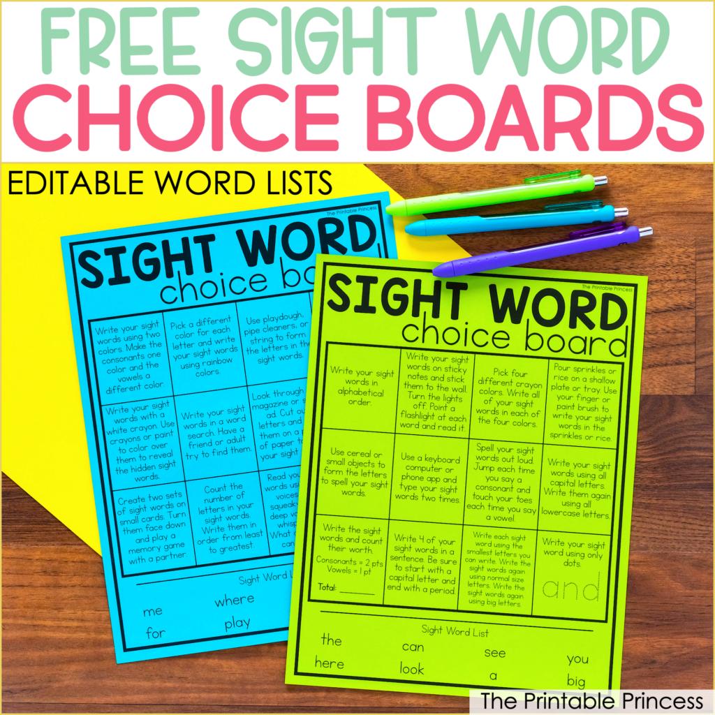 sight word choice board activities