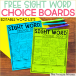 Free Editable Sight Word Choice Boards for Kindergarten