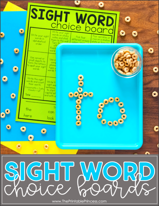 sight word choice board activities