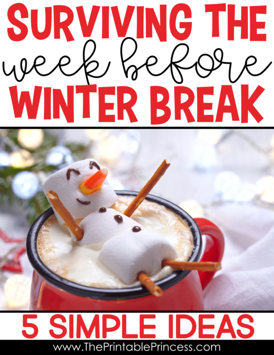 Surviving the week before winter break can make even the most seasoned teachers feel stressed. To help survive the week before winter break, I've shared a few of my most favorite (and easy to implement) ideas. You'll find 5 simple ideas and activities to help PreK, Kindergarten, and first grade teachers survive the last week before winter break. Plus you'll find a fun and FREE game to download and play with your students.