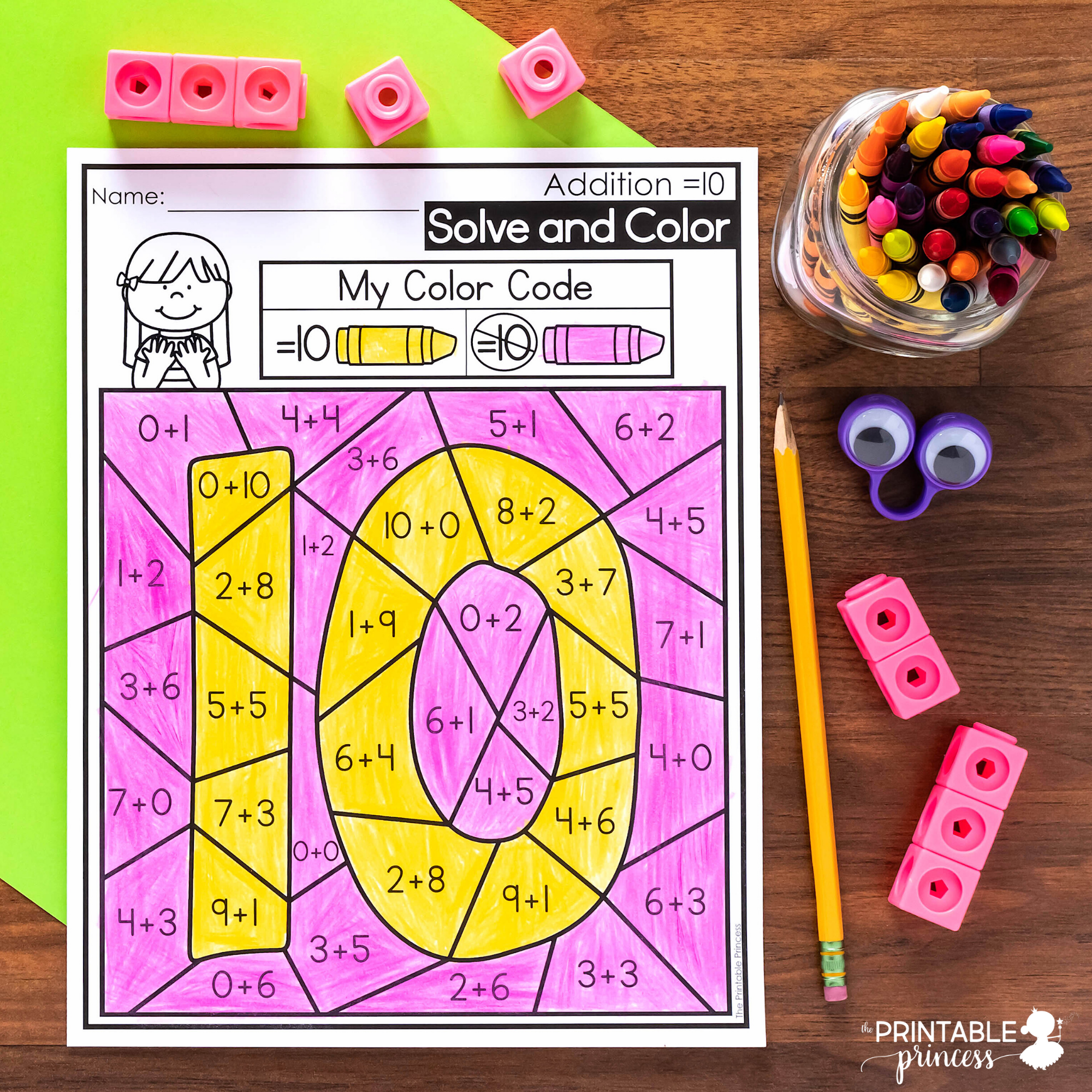 Solve and Color Addition and Subtraction Coloring Pages ...