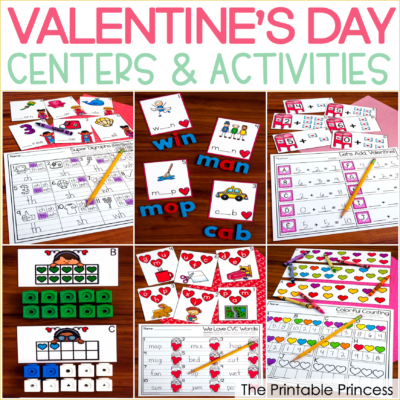 Valentine's Day Centers for Kindergarten