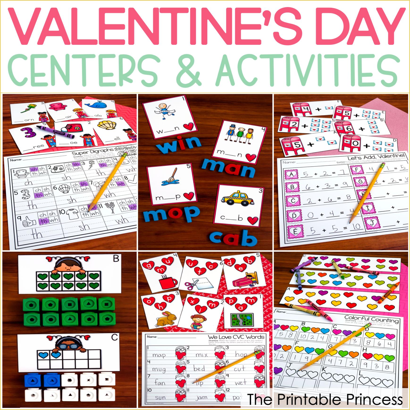Valentine's Day Centers for Kindergarten