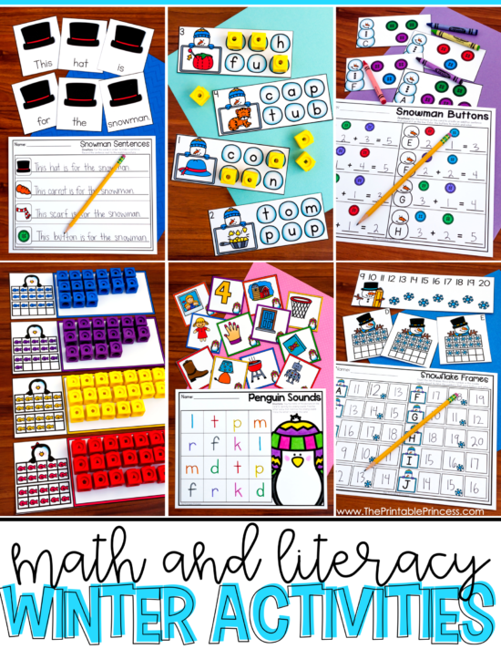 Are you looking for hands-on and engaging activities to keep your Kindergarteners learning during the winter months? Then you will love the winter activities for Kindergarten in this blog post. There's math and literacy included and they were designed with Kindergarten skills in mind. Also included in this blog post is an interactive onset and rime FREEBIE that's perfect for winter! Click through to download your copy!