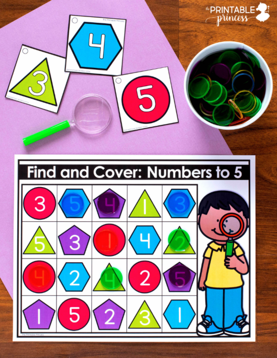 Find and Cover: Numbers to 5